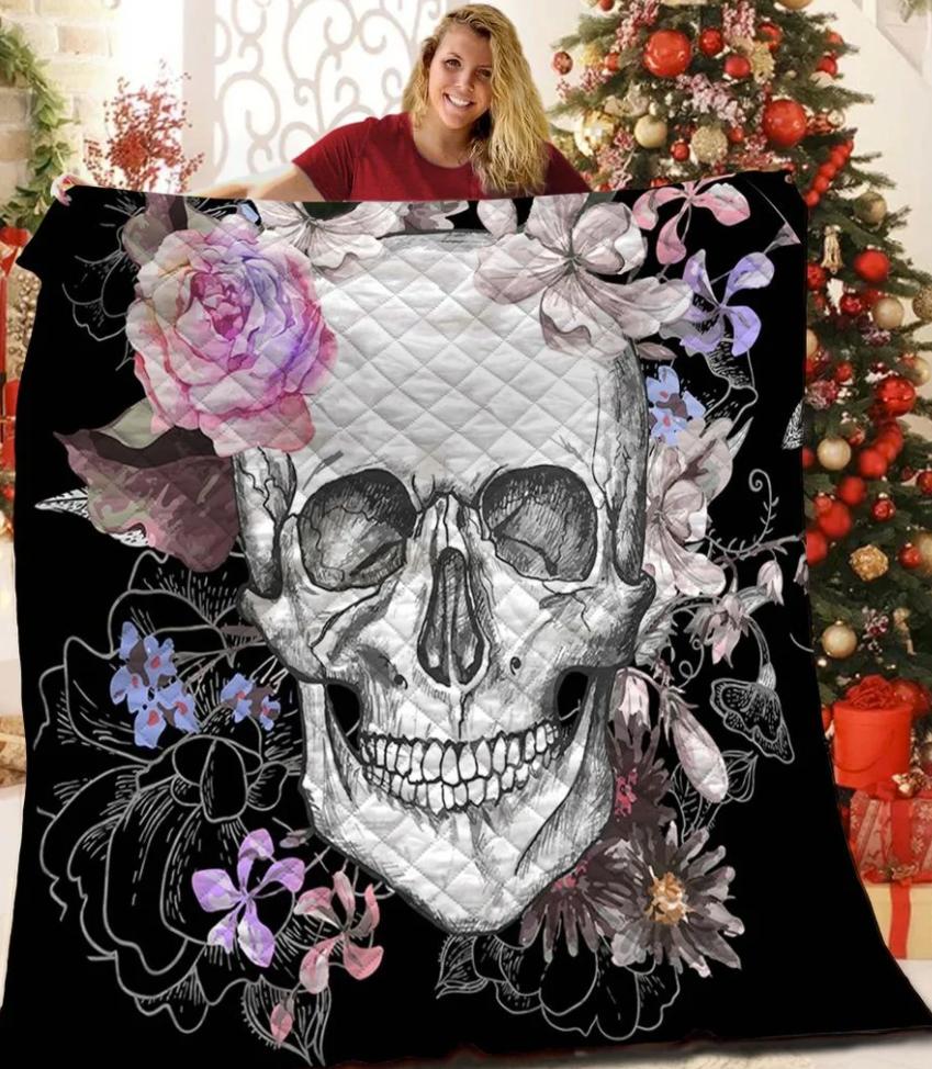 Floral skull 3D quilt