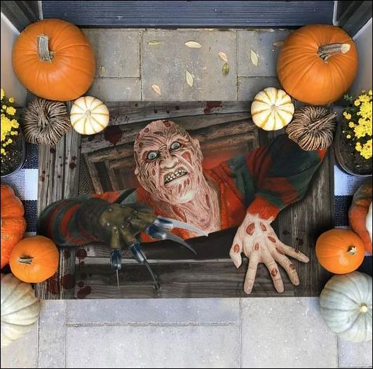Halloween Freddy Krueger illusion doormat 1