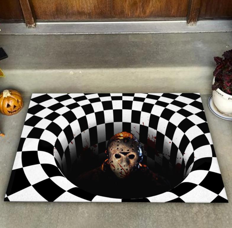 Halloween Jason Voorhees illusion doormat 1