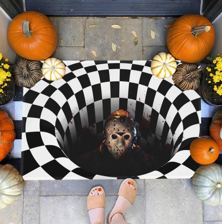 Halloween Jason Voorhees illusion doormat