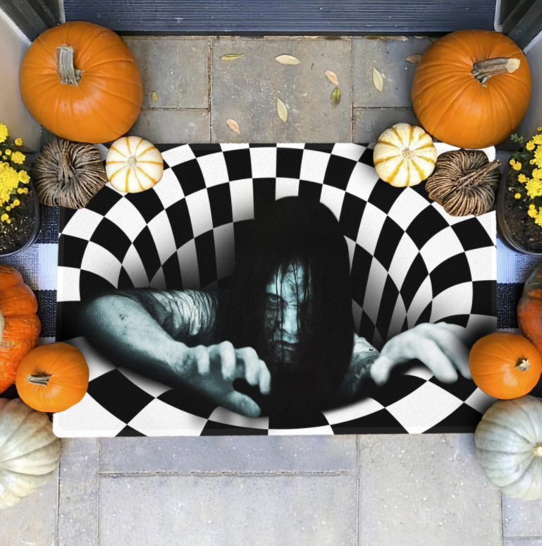 Halloween The Ring illusion doormat