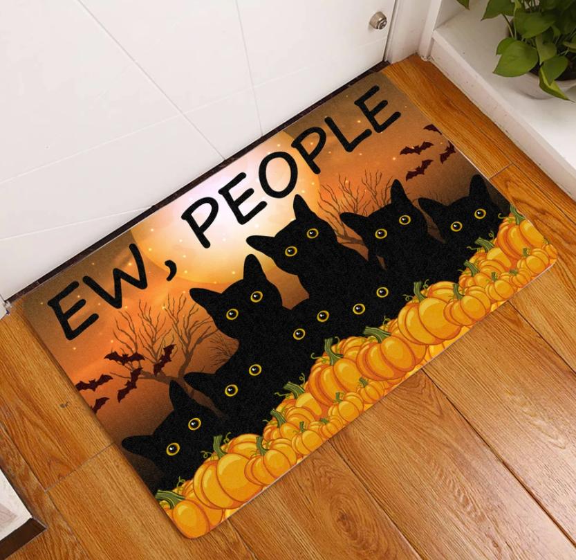 Halloween black cats ew people doormat