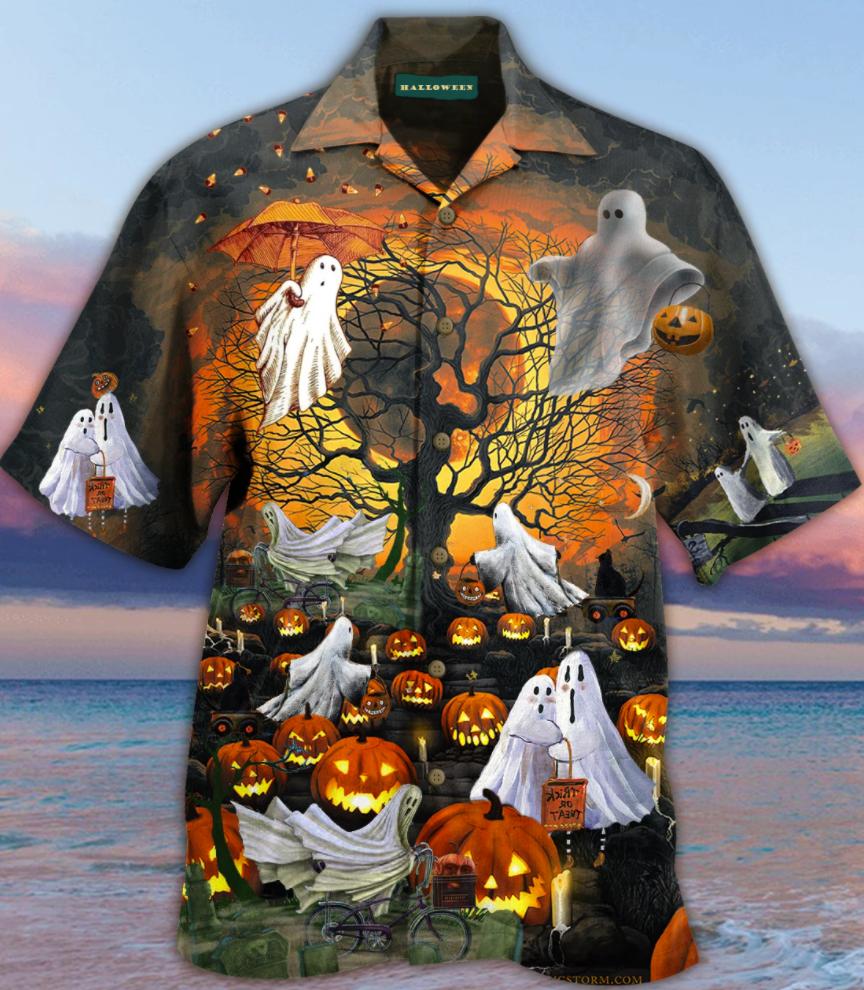 Halloween ghouls and pumpkins hawaiian shirt 1
