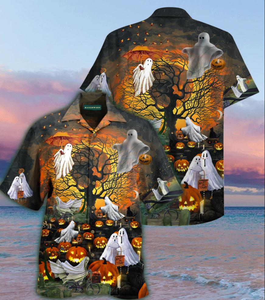 Halloween ghouls and pumpkins hawaiian shirt
