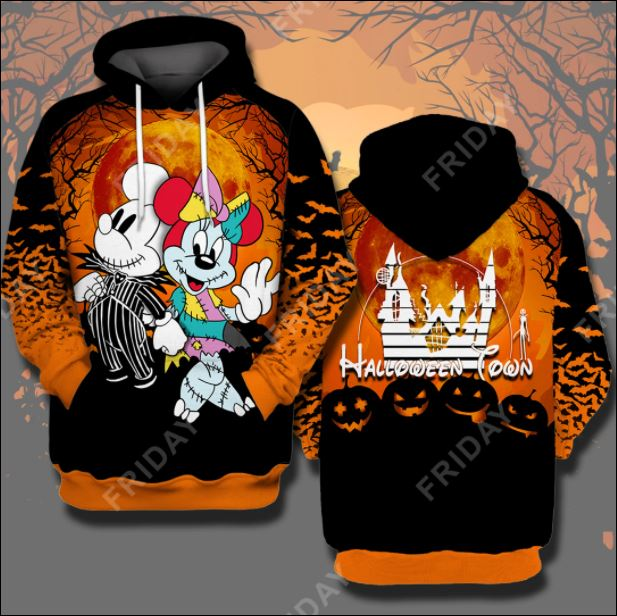 Halloween town Mickey mouse and Minnie mouse 3D all over printed hoodie