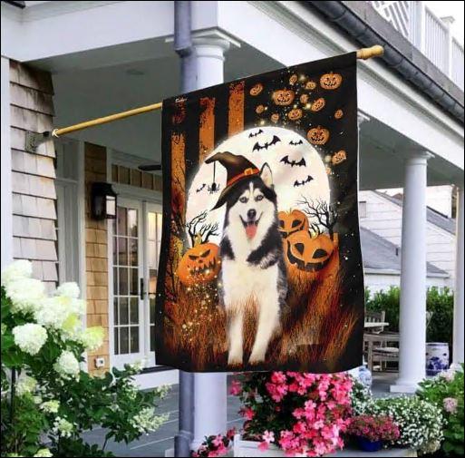 Husky happy Halloween flag