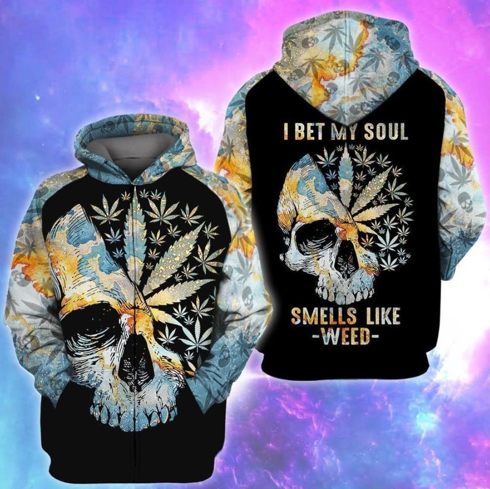 I bet my soul smells like weed all over printed 3D zip hoodie