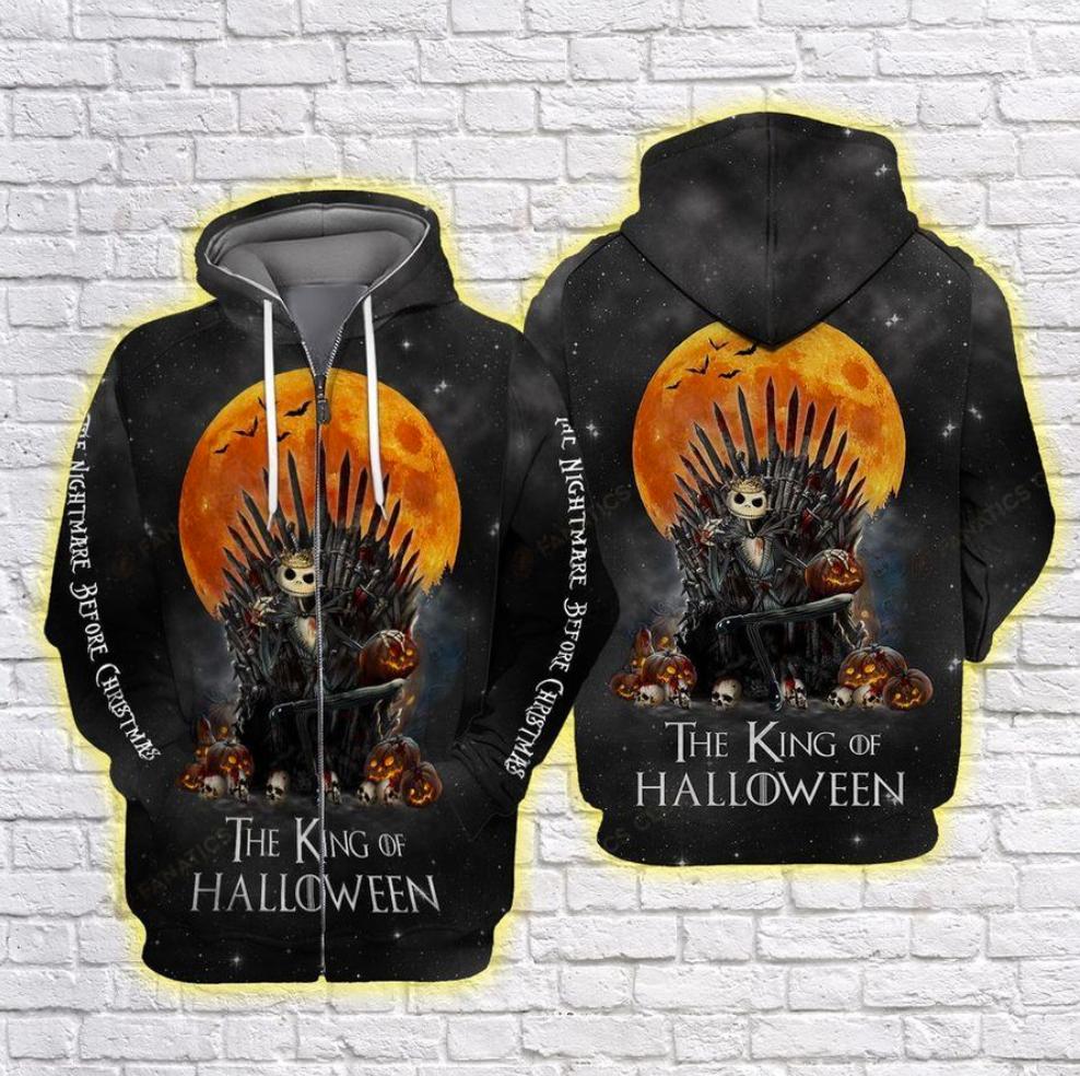 Jack Skellington The King of Halloween Game of Thrones all over printed 3D zip hoodie