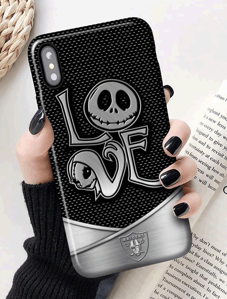 Jack Skellington and Sally love Raiders 3D phone case