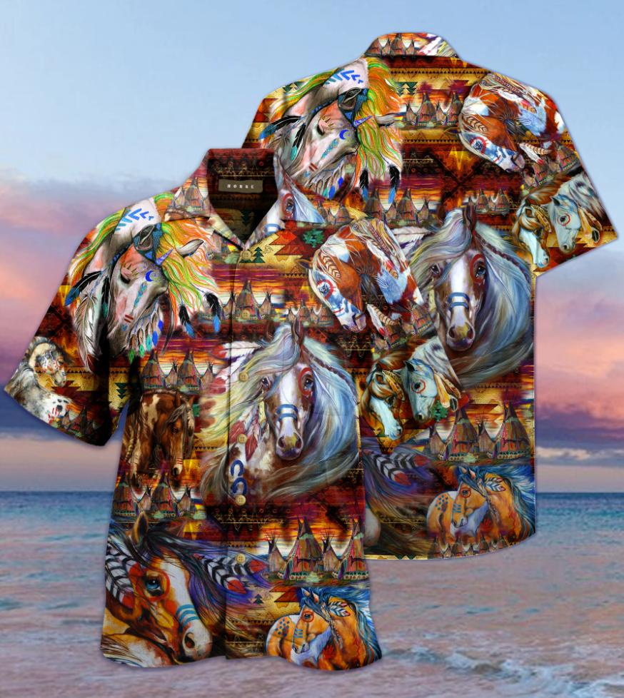 Native American Horses hawaiian shirt