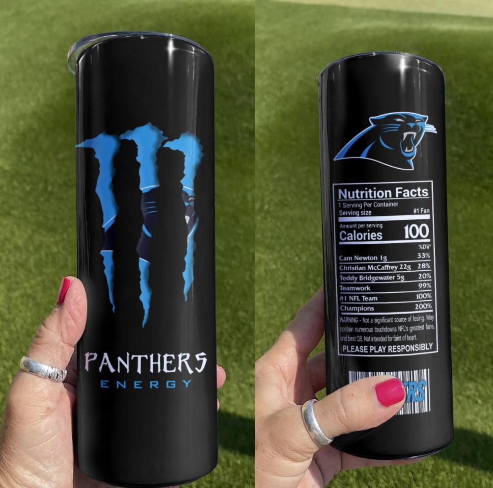 Panthers Energy skinny tumbler