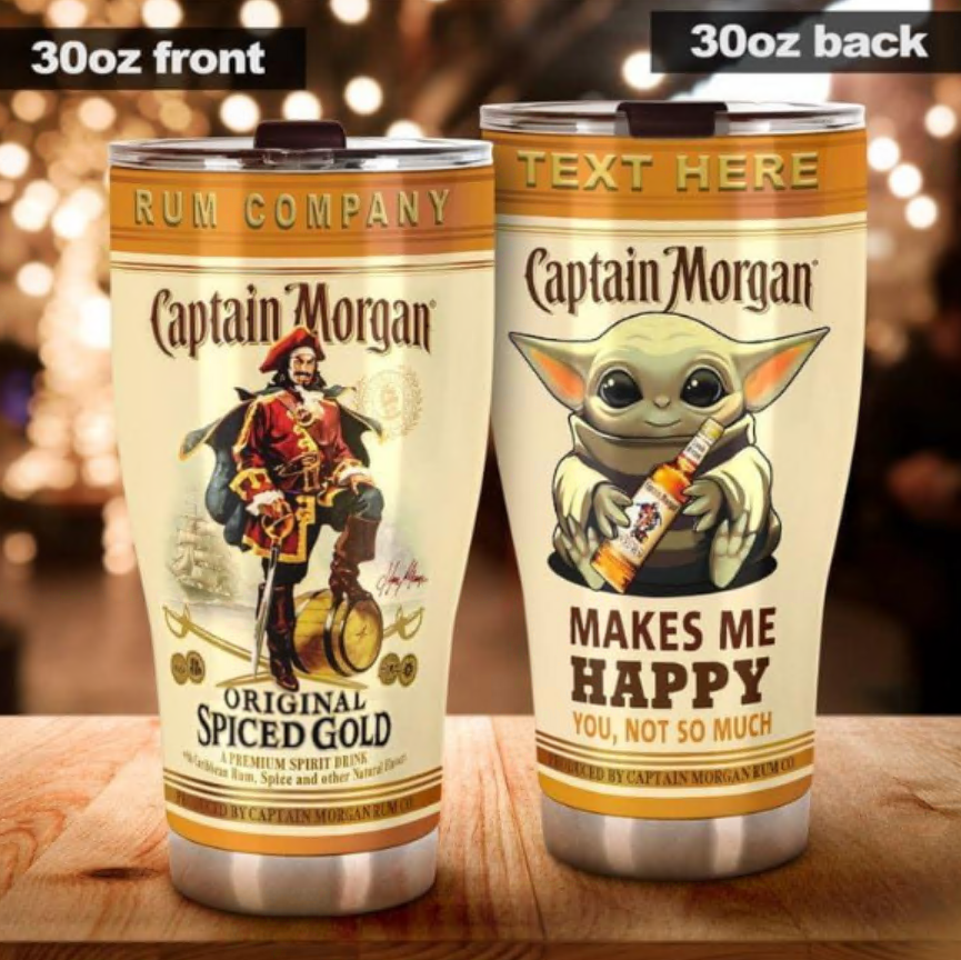 Personalized Baby Yoda Captain Morgan makes me happy you not so much tumber