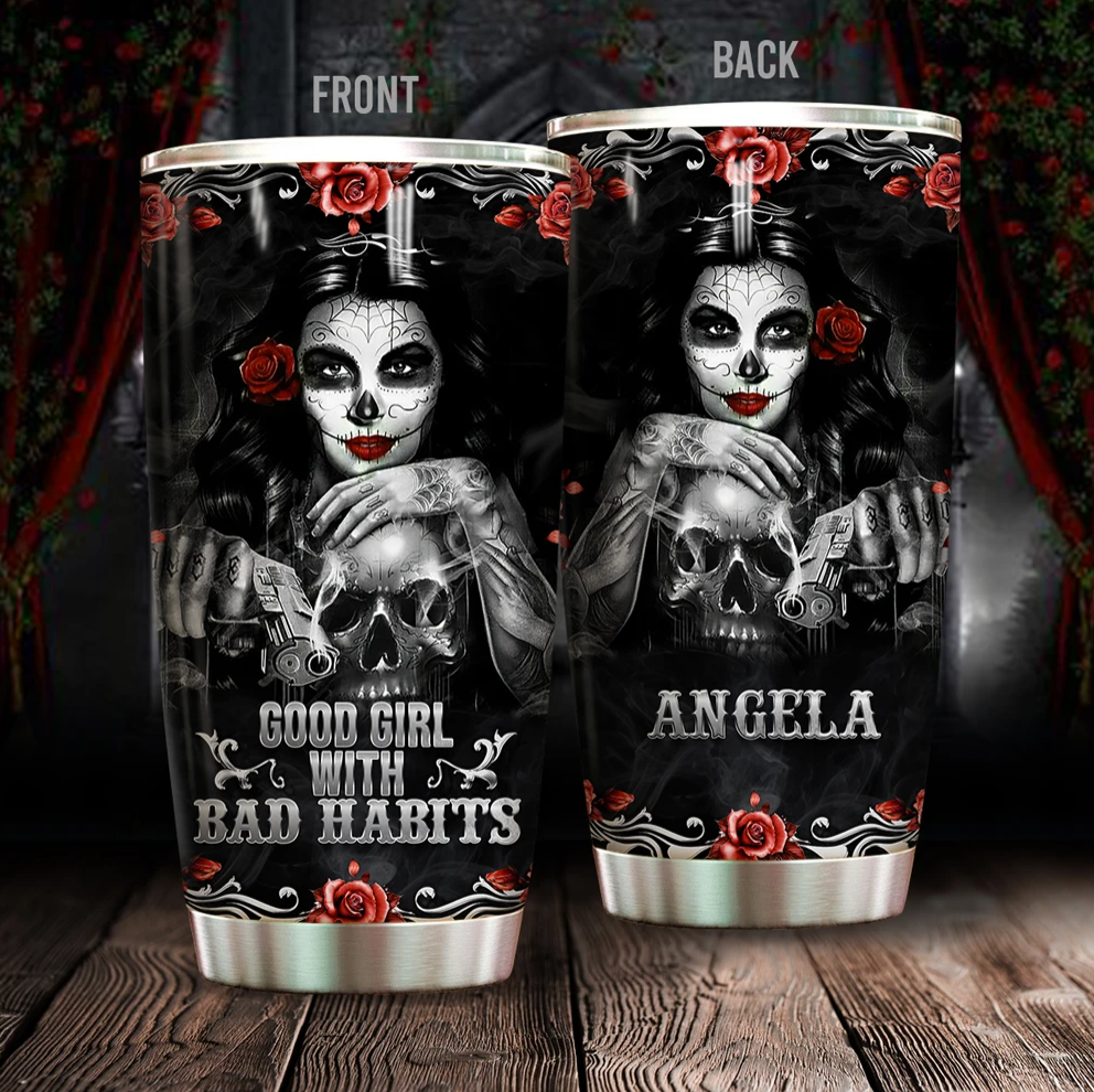 Personalized Good girl with bad habits tumbler
