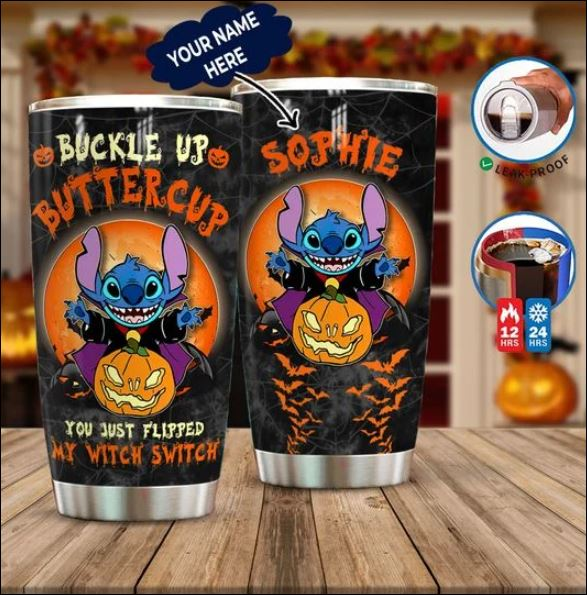 Personalized Halloween Stitch buckle up buttercup tumbler