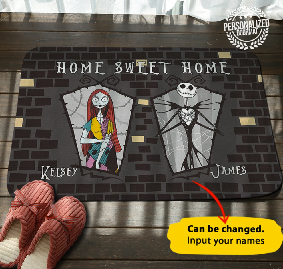 Personalized Jack Skellington and Sally home sweet home doormat