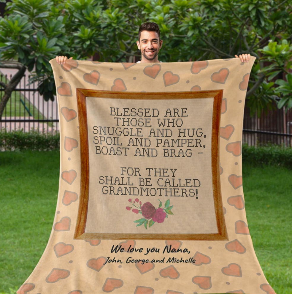 Personalized blessed are those who snuggle and hug we love you nana quilt