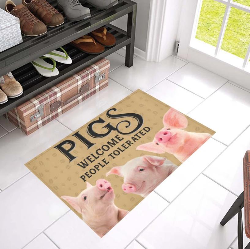 Pigs welcome people tolerated doormat