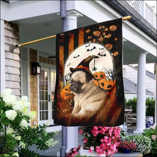 Pug Happy Halloween flag