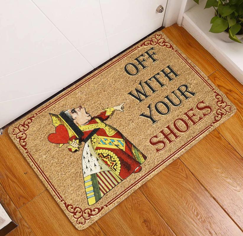 Queen of hearts off with your shoes doormat