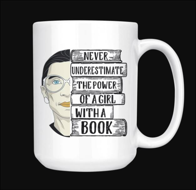 RBG never underestimate the power of a girl with a book mug