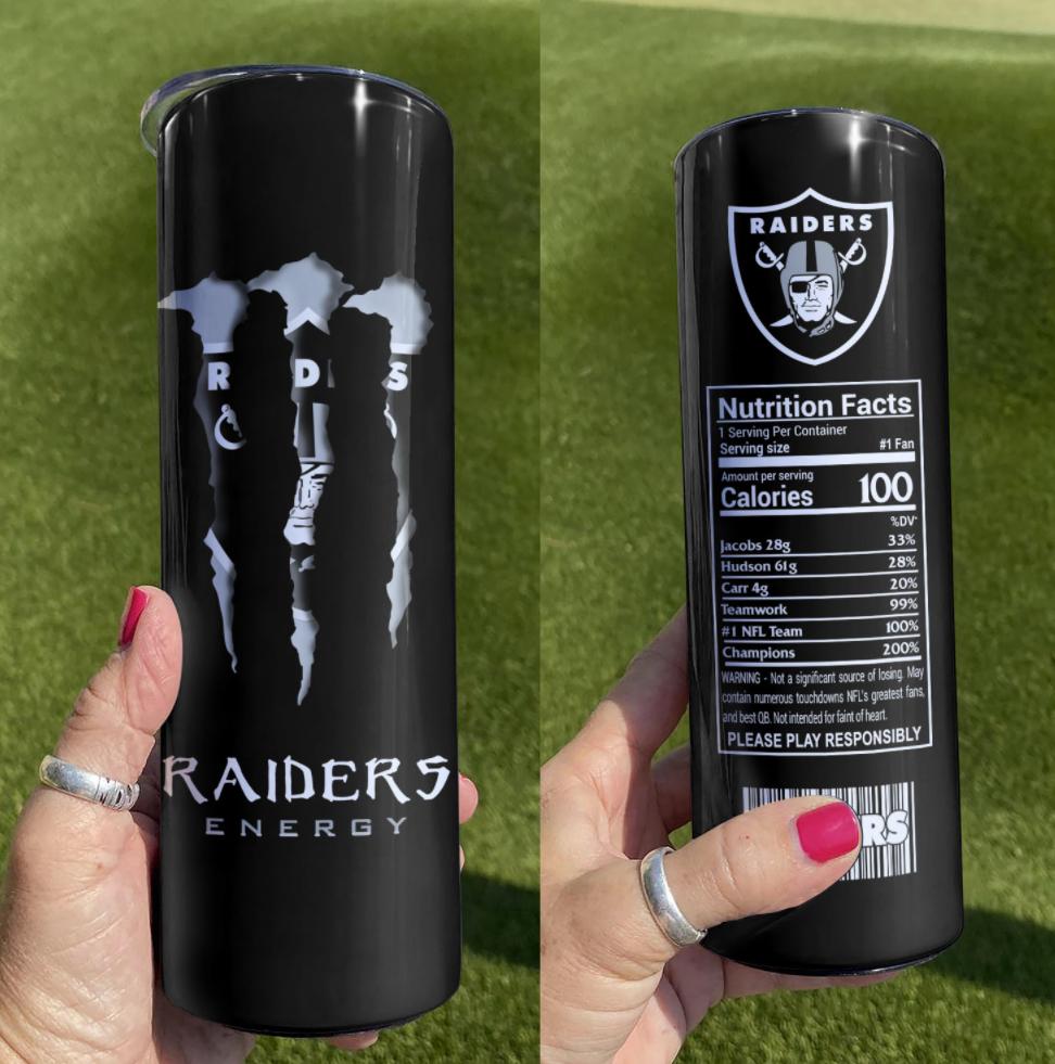 Raiders Monster Energy skinny tumbler
