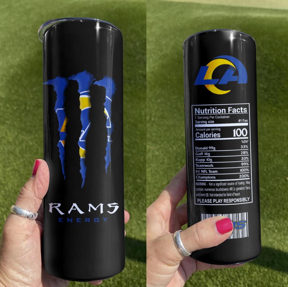 Rams Energy skinny tumbler