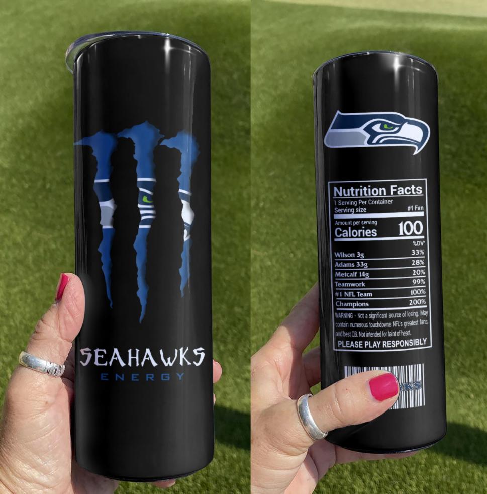 Seahawks Energy skinny tumbler