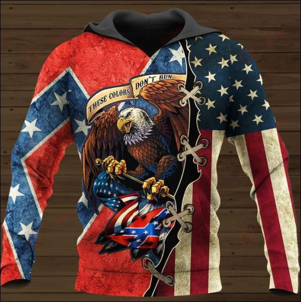 These colors don't run American flag all over printed 3D hoodie