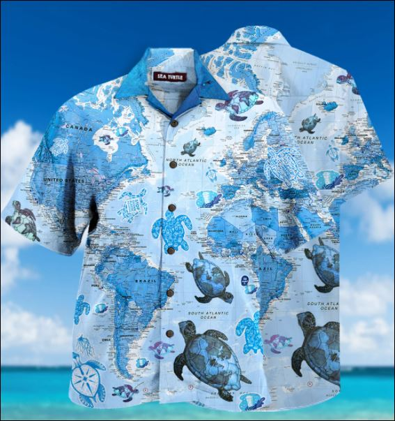 Turtle world map hawaiian shirt