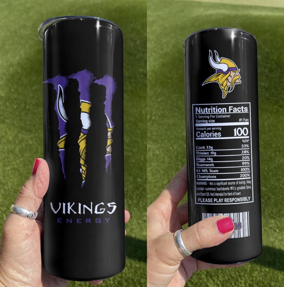 Vikings Energy skinny tumbler