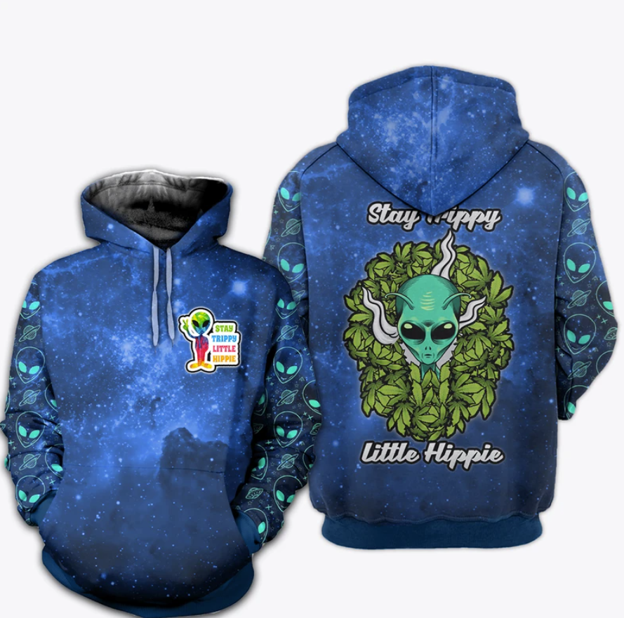 Alien stay trippy little hippie all over printed 3D hoodie