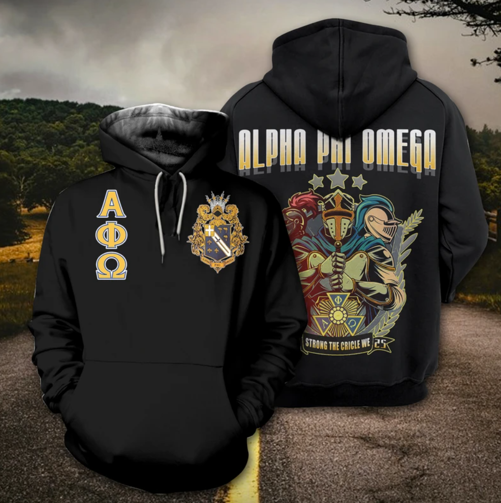 Alpha Phi Omega all over printed 3D hoodie