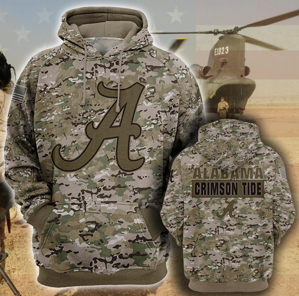 Army camo Alabama Crimson Tide all over printed 3D hoodie