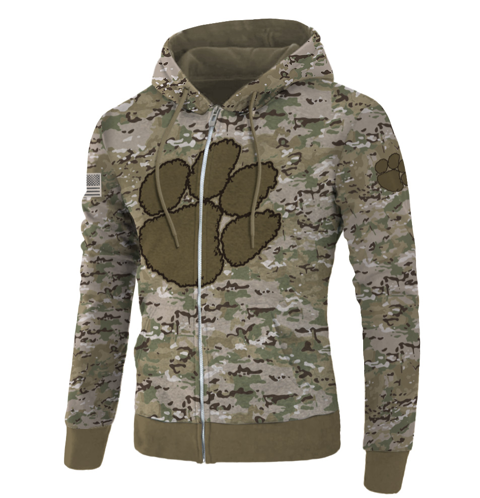 Army camo Clemson Tigers all over printed 3D zip hoodie