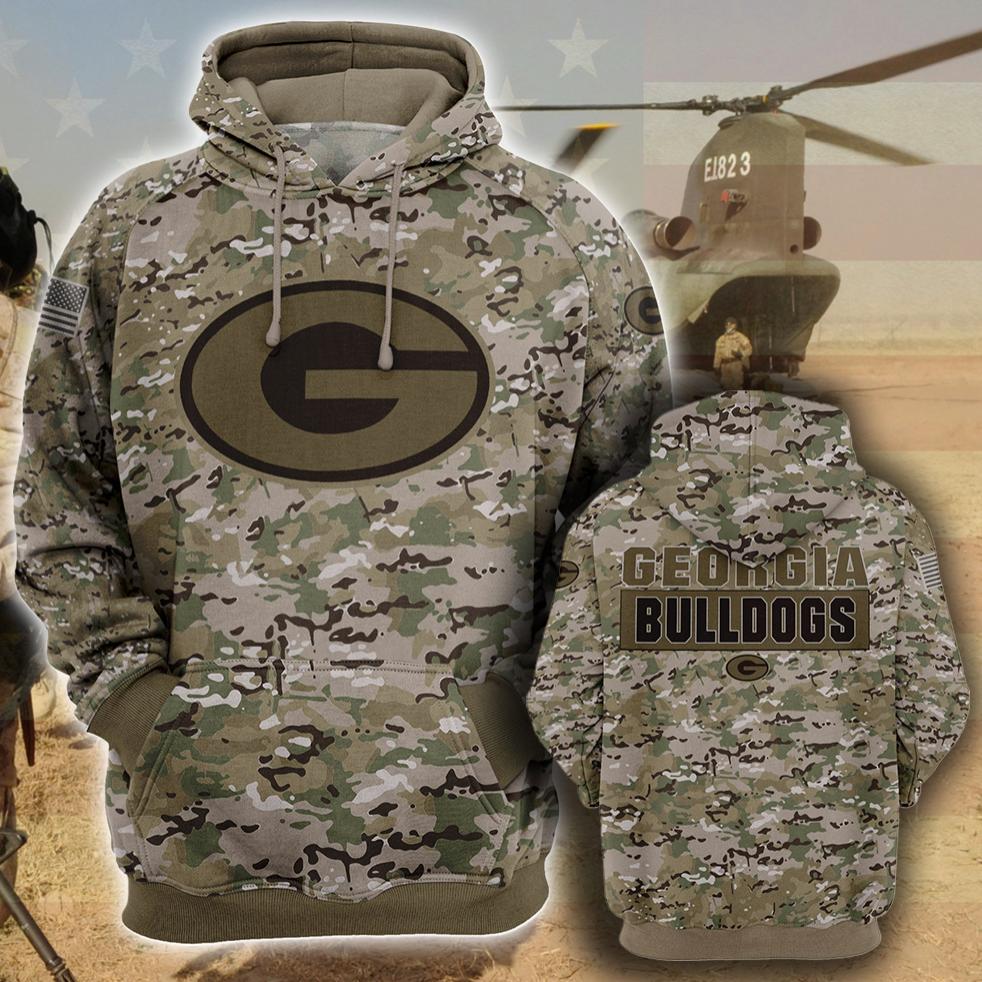 Army camo Georgia Bulldogs all over printed 3D hoodie