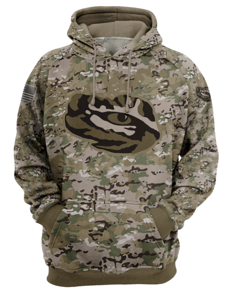 Army camo LSU Tigers all over printed 3D hoodie
