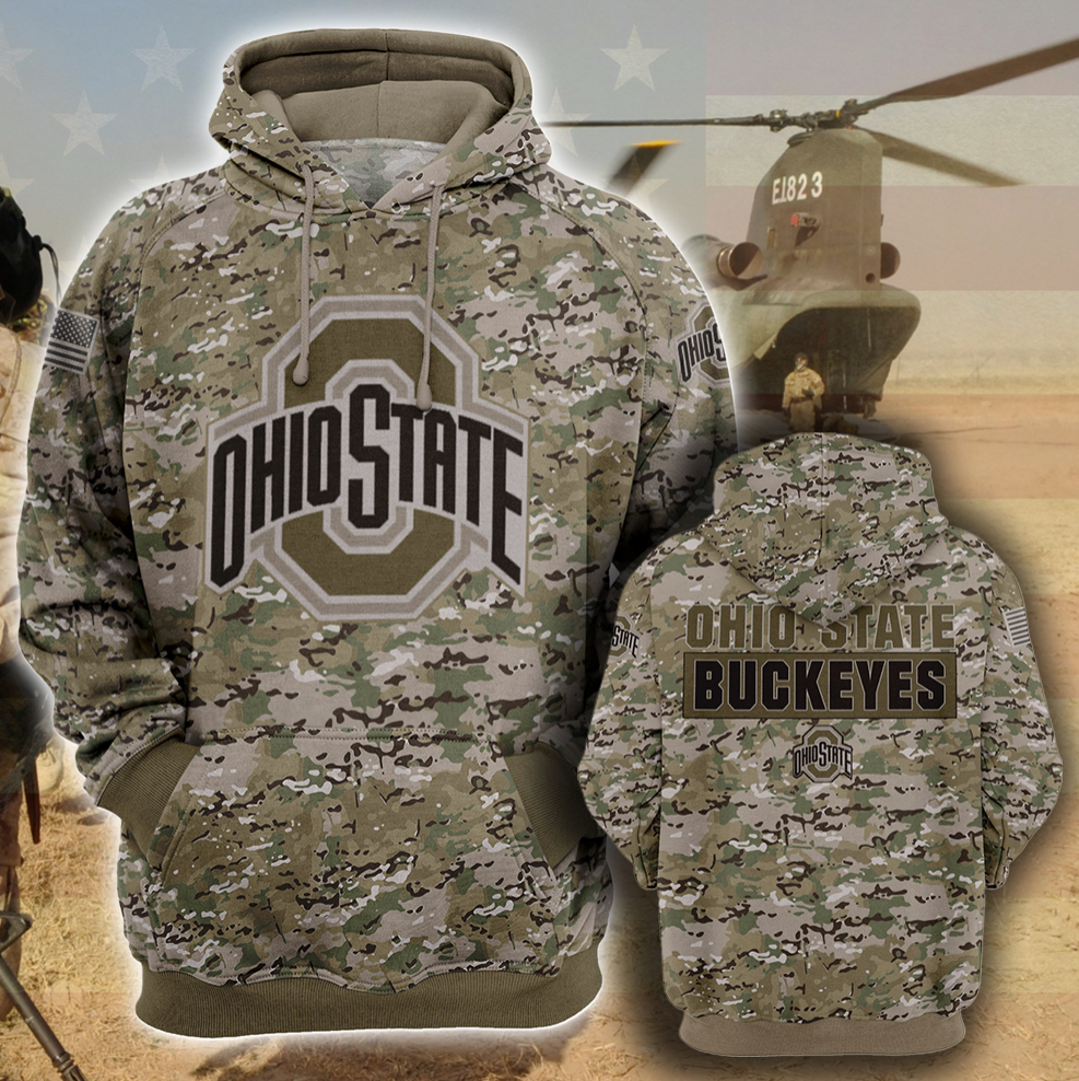 Army camo Ohio State Buckeyes all over printed 3D hoodie
