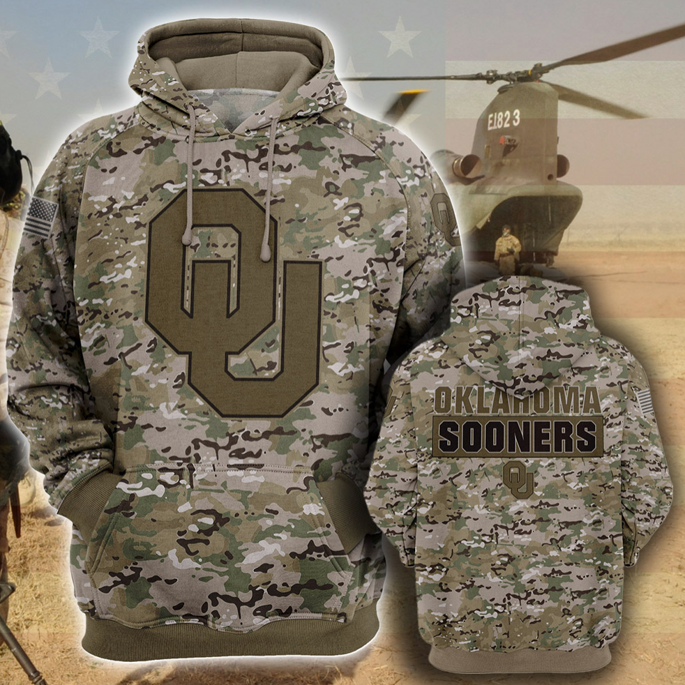 Army camo Oklahoma Sooners all over printed 3D hoodie