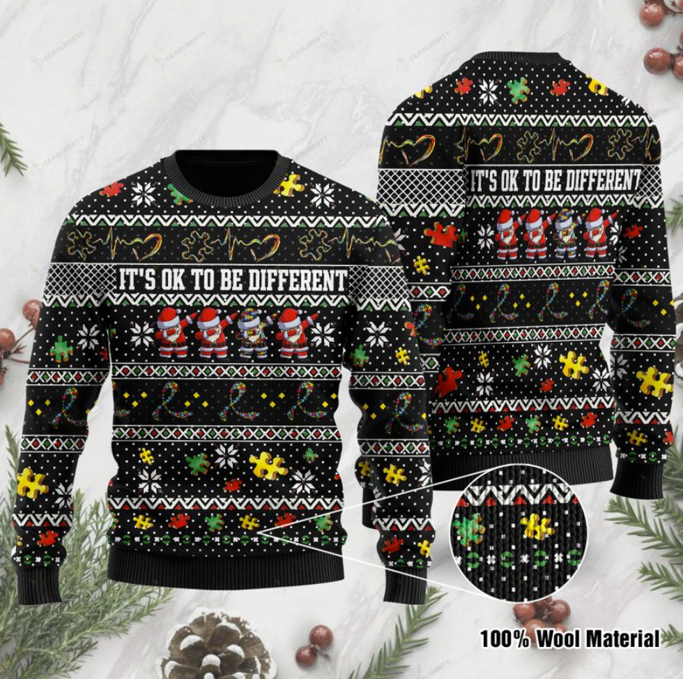 Autism awareness Santa Claus it's ok to be different ugly sweater