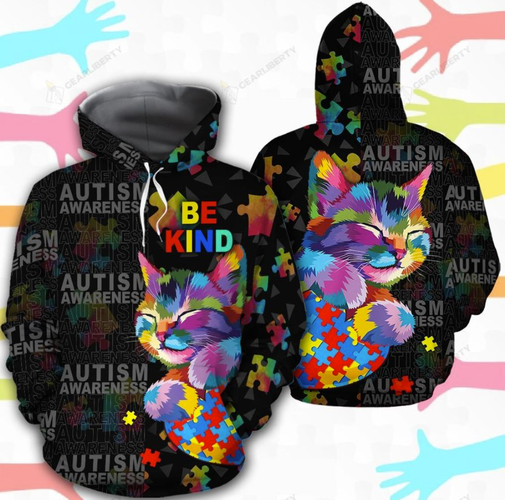 Autism awareness cat be kind all over printed 3D hoodie