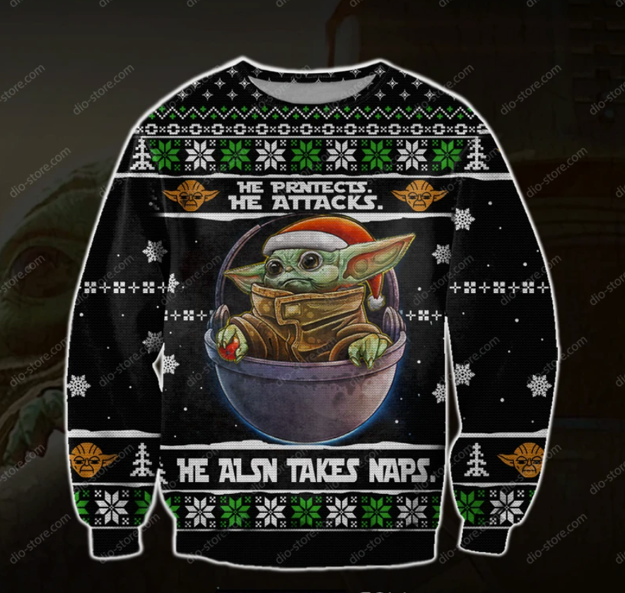 Baby Yoda he protects he attacks he also takes naps ugly sweater