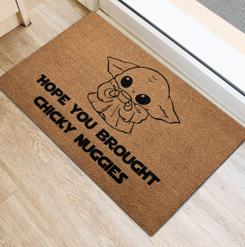 Baby Yoda hope you brought chicky nuggies doormat