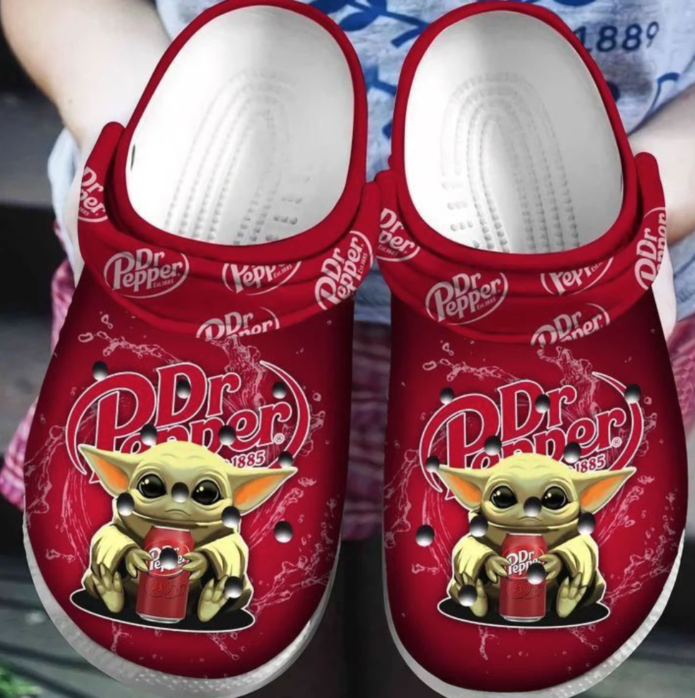 Baby Yoda hug Dr Pepper crocs crocband