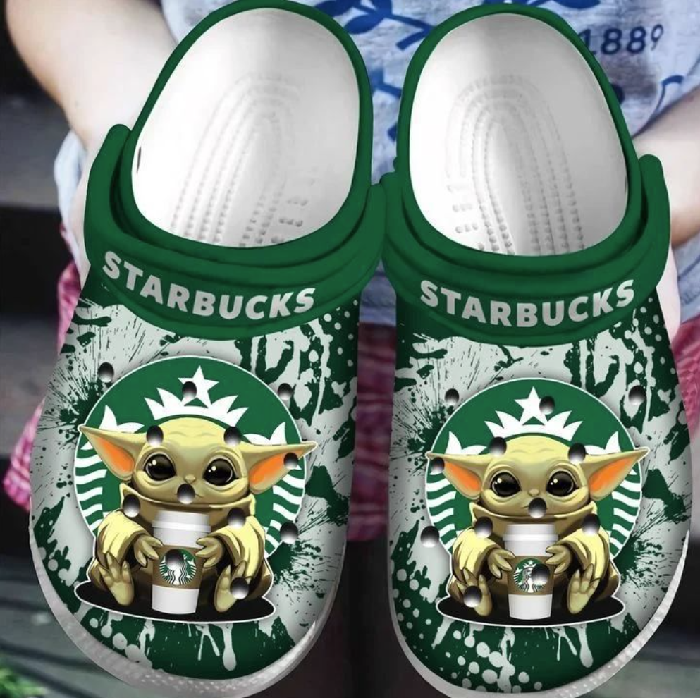 Baby Yoda hug Starbucks crocs crocband