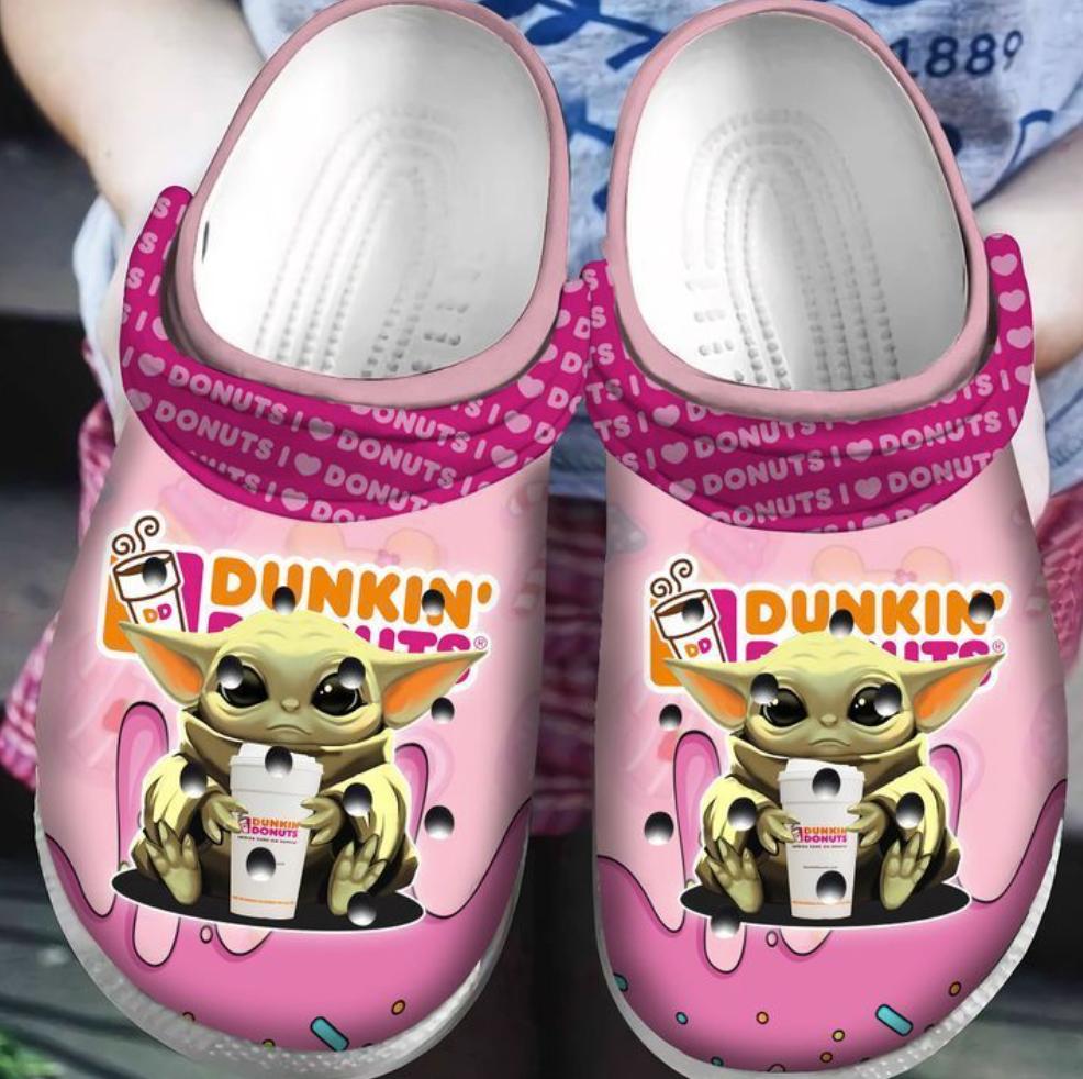 Baby Yoda hug dunkin' donuts crocs crocband