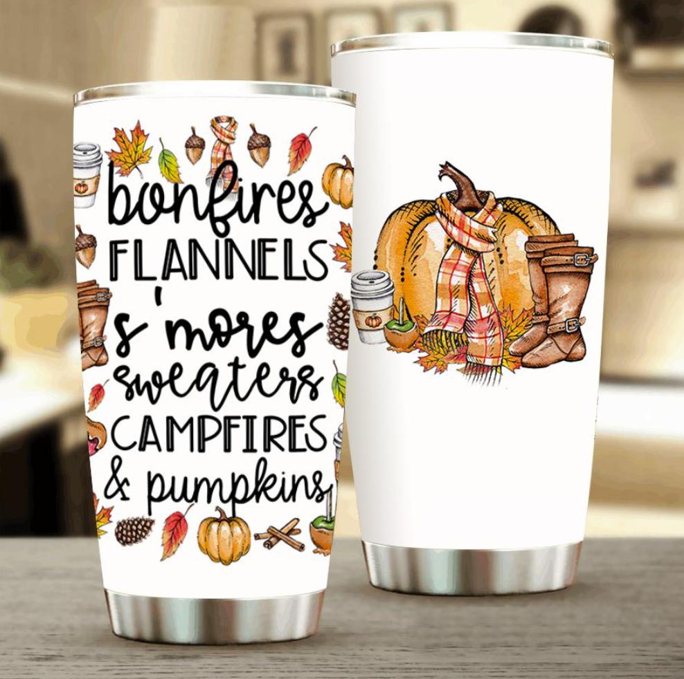 Bonfires flannels s'mores sweaters campfires and pumplines tumbler