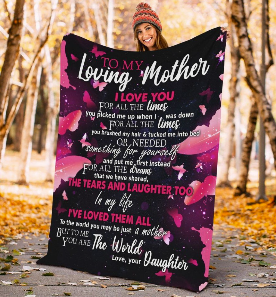 Butterfly your daughter to my loving mother i love you for all the times quilt 1