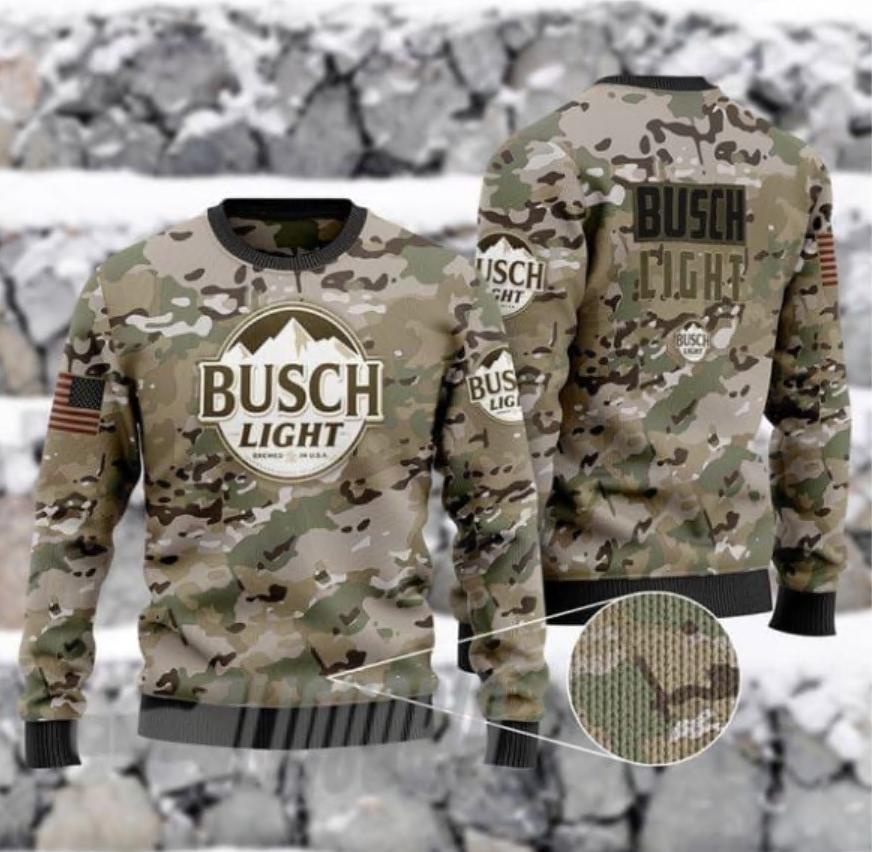 Camo army Busch Light 3D ugly sweater