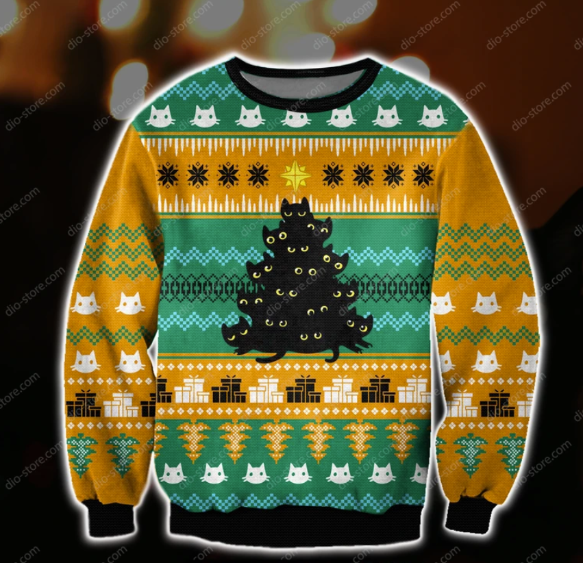 Cats christmas tree ugly sweater