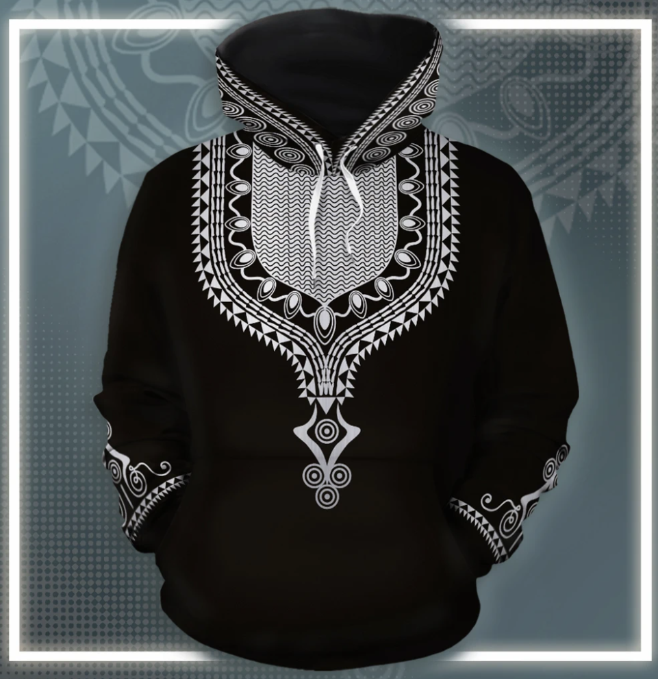 Dashiki black and white all over printed 3D hoodie